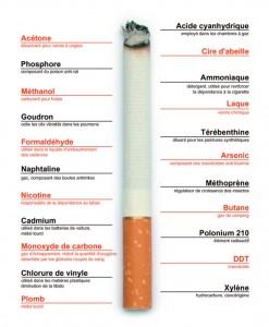 Acétone (dissolvant pour vernis à ongles), Phosphore (composant du poison anti-rat), Méthanol (carburant pour fusée), Goudron (colle les cils vibratifs dans les poumons), Formaldéhyde (utilisé dans le liquide d'embaumement des cadavres), Naphtaline (gaz, composant des boules antimites), Nicotine (responsable de la dépendance au tabac), Cadmium (utilisé dans les batteries de voiture, métal lourd), Monoxyde de carbone (gaz d'échappement, réduit la quantité d'oxygène absorbée par les globules rouges du sang), Chlorure de vinyle (utilisé dans les matières plastiques, diminution de la libido), Plomb (métal lourd), Acide cyanhydrique (employé dans les chambres à gaz), Cire d'abeille, Ammoniaque (détergent, utilisé pour renforcer la dépendance à la cigarette), Laque (vernis chimique), Térébenthine (diluant pour les peintures synthétiques), Méthoprène (régulateur de croissance des insectes), Butane (gaz de camping), Polonium 210 (élément radioactif), DDT (insecticide), Xylène (hydrocarbure, cancérigène)