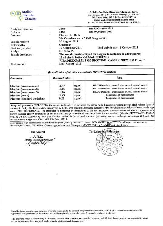 Certificat ISO 2008 Eliquide Flavour Art