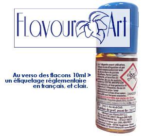 Au verso des flacons FlavourArt 10ml, un étiquetage en français, clair, et en conformité avec les normes actuelles.